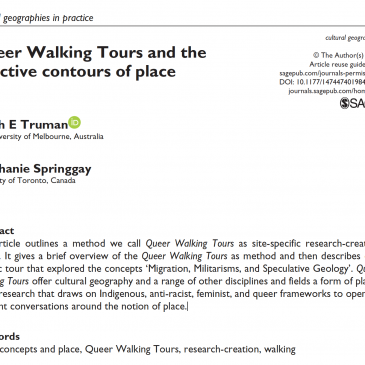 Article: Queer Walking Tours and the affective contours of place